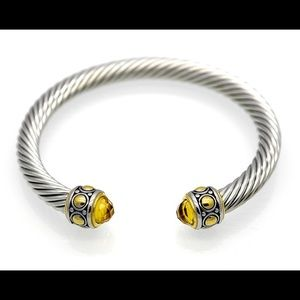 Jewelry - Stainless Steel Cuff Bracelet with Citrine Accent